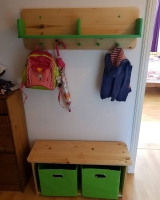 Set Kindergarderobe mit Kinderbank und Ablageboxen in Breite 80 cm